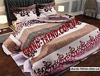 """Комплект полуторного постельного белья """"GOLD"""" бордовые вензеля"""