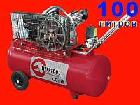 2-х цилиндровый ременной компрессор на 100 литров Intertool PT-0014
