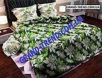 """Комплект полуторного постельного белья """"GOLD"""" белые цветы на зеленом"""