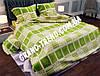 """Комплект полуторного постельного белья """"GOLD"""" зеленая клетка"""