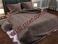 """Комплект полуторного постельного белья """"GOLD"""" - бежевые веточки на коричневом"""