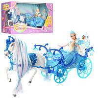 Карета 225A 52 cм, лошадь с крыльями (ходит), кукла, 28 см, свет, звук, на батарейке, в коробке