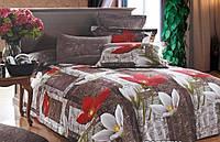 Комплект полуторного постельного белья Gold - цветы на коричневом