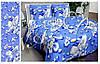 Комплект полуторного постельного белья Gold - лебеди на синем