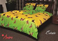 """Полуторный постельный комплект """"Gold"""" - бабочки на желтом"""