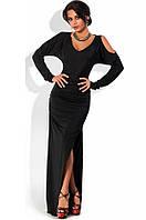 Платье в пол облегающее с боковым разрезом черное