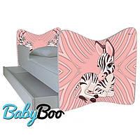 """Детская кровать Junior BABY BOO + ящик + матрас 140 х 70см """" Розовая зебра"""""""