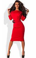 Платье-футляр миди из трикотажа джерси красное