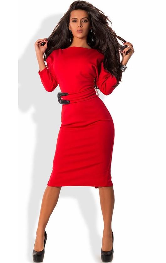 02515154b536719 Платье-футляр Миди Из Трикотажа Джерси Красное — в Категории