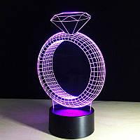 "3D Светильник, 3D Ночник, 3D лампа, ""Кольцо"""