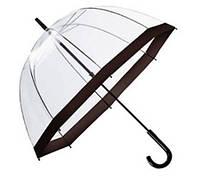 Прозрачный зонт-трость с черным ободком