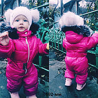 Детский теплый комбинезон на синтепоне для девочки