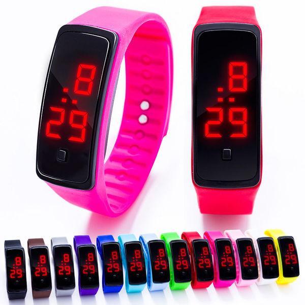 Наручные LED 555 часы браслет разные цвета