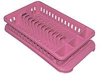 Сушарка пластикова для посуду з піддоном (12тар.) (рожева) ТМКОНСЕНСУС