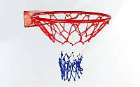 Баскетбольное кольцо с упором 1816-1 (корзина баскетбольная): 46см, D трубы 12мм + сетка
