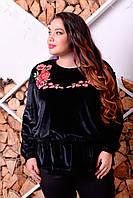 Черная бархатная блузка с вышивкой Надежда