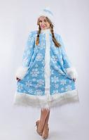 Костюм Снегурочки со снежинками для взрослого,р.42-48