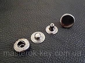 Кнопка металлическая Альфа 13,5мм. Китай цвет темный никель (50 шт в упаковке)