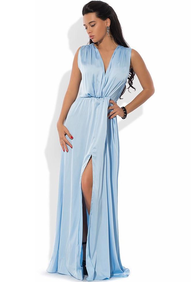 Платье макси из шелка Армани голубое