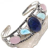 Браслет-манжет с натуральным камнем лазурит, розовый кварц и  ларимар (Доминикана) в серебре.