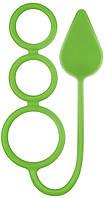 Анальная пробка с эрекционными кольцами RENEGADE 3 RING CIRCUS MEDIUM GREEN, 7х4 см.