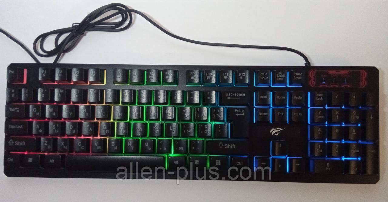 Клавіатура з кольоровою підсвіткою HAVIT HV-KB421L, конструкція SKELETON, USB Black
