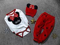 Велюровый костюмчик для девочки с шапочкой Турция р. 3 мес.