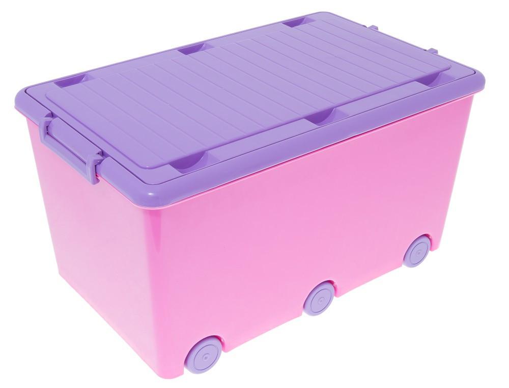 Ящик для игрушек на 6 колесиках Tega Chomik MIX IK-008 (Польша), розовый/фиолетовый