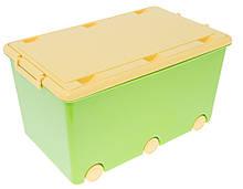 Ящик для игрушек с колесами Tega Chomik MIX IK-008 (Польша), салатовый/желтый
