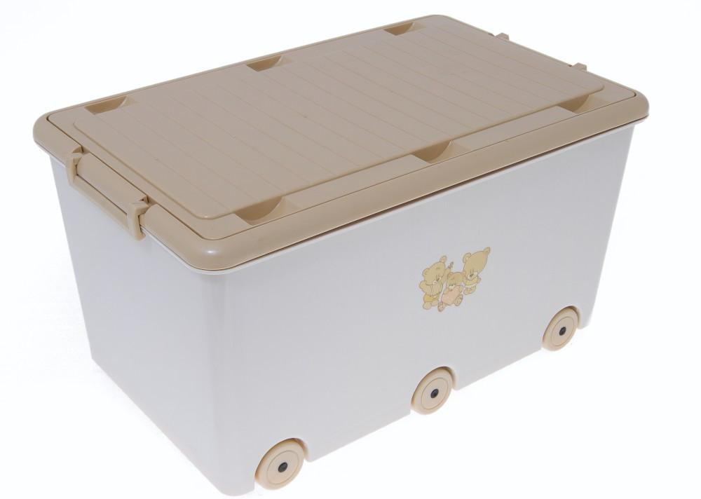 Ящик для игрушек на 6 колесиках Tega  TEDDY BEAR MS-007 (Польша), кремовый/коричневый