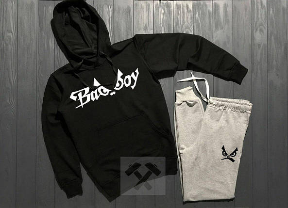 Весенний костюм спортивный Bad Boy с капюшоном черный топ реплика, фото 2