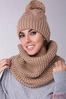Женская шапка зимняя вязаная с помпоном, фото 1