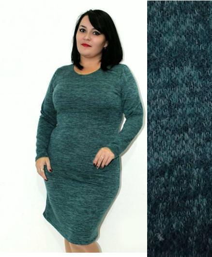 Женское зимнее теплое ангоровое платье Rondo / размер 50,52,54 цвет зеленый