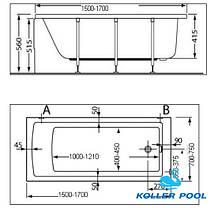 Ванна акриловая Koller Pool Neon new 150х70, фото 3