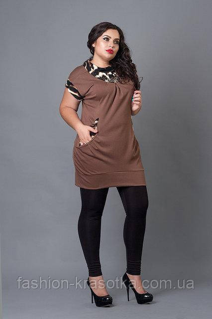 Оригинальная женская туника-жилетка с карманами 52-56 размеры светло-коричневая