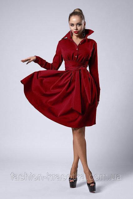 Модное молодёжное платье миди под поясок  42-48 бордовое