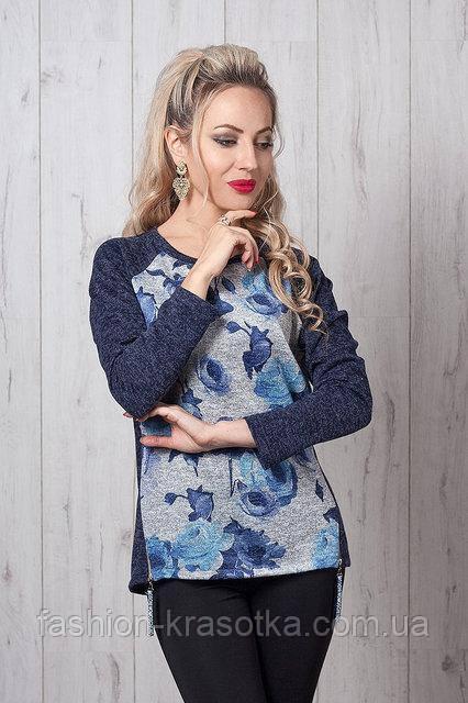 Тёплый молодёжный свитшот из меланжевого трикотажа   42 -48 розы синие