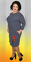 Модное женское платье свободного кроя  в горох больших размеров  48-58