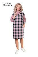 Женское платье свободного силуэта в клетку  из ткани турецкая шерсть и стрейч-ангора 46-52