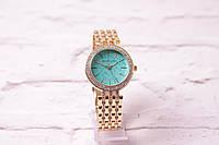 Классические женские часы Michael Kors в золоте (кварцевые) циферблат бирюза в камнях