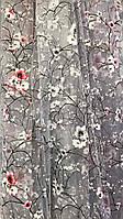 """Тюль принтованная (печать), основа органза, """"Веточка сакуры"""""""