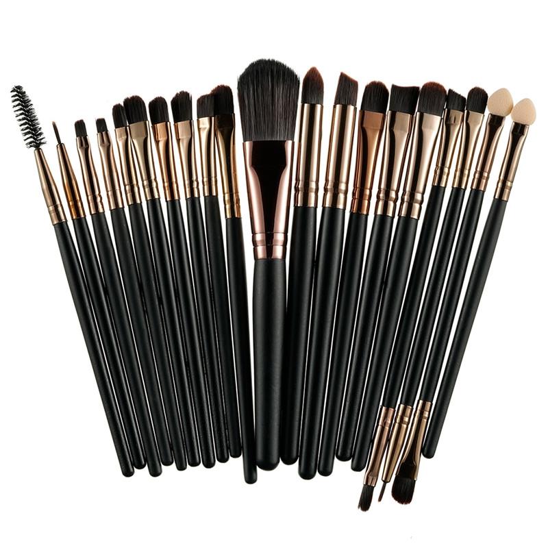 Кисти для макияжа Black/Coffee, профессиональный набор из 20 штук