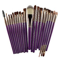 Кисти для макияжа Purple/Coffee, профессиональный набор из 20 штук