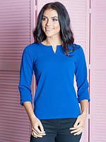 Молодёжная блузка полу приталенного кроя синего цвета 44-52
