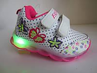 Белые кроссовки с LED девочке 24-14,5 см