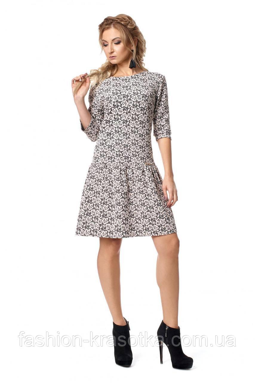 Оригинальное молодёжное платье с заниженной талией  с 42-48 бежевая