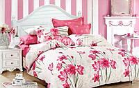 """Двуспальное постельное белье """"Gold"""" розовые цветы"""