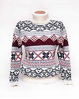 Теплый свитер женский вязаный под горло с орнаментом p.44-48 B31-13