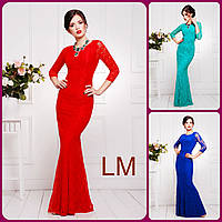 Платье р42,44,46,48,50 гипюровое Мечта новогоднее синее красное бирюзовое вечернее женское длинное праздничное