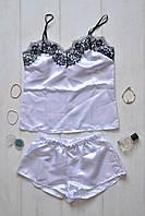 Нежный белый  комплект майка с шортами